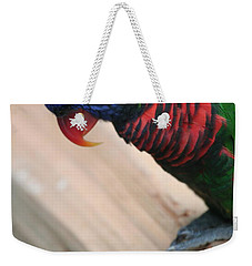 Weekender Tote Bag featuring the photograph Post Position by Laddie Halupa