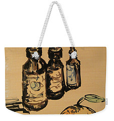 Weekender Tote Bag featuring the painting Potions by Maria Langgle
