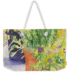 Weekender Tote Bag featuring the painting Potted Beauties  by Vicki  Housel
