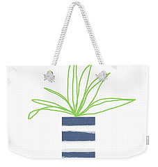 Weekender Tote Bag featuring the mixed media Potted Plant 2- Art By Linda Woods by Linda Woods