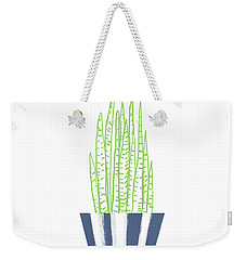 Weekender Tote Bag featuring the mixed media Potted Succulent 3- Art By Linda Woods by Linda Woods