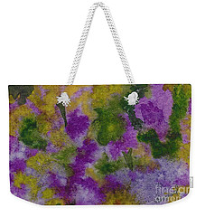 Weekender Tote Bag featuring the painting Pouring Flowers by Vicki  Housel