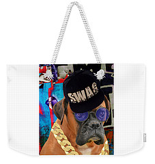 Weekender Tote Bag featuring the mixed media Power Elite by Marvin Blaine