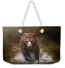 Weekender Tote Bag featuring the digital art Power Of The Grizzly by Nicole Wilde
