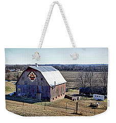 Weekender Tote Bag featuring the photograph Prairie Flower Quilt Barn by Cricket Hackmann