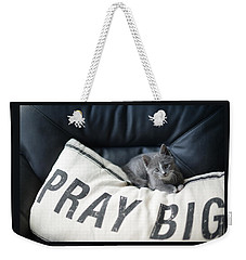 Weekender Tote Bag featuring the photograph Pray Big by Linda Mishler