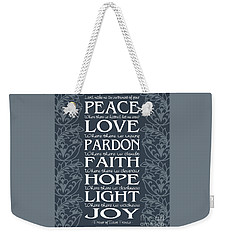 Prayer Of St Francis - Victorian Blue Grey Weekender Tote Bag by Ginny Gaura