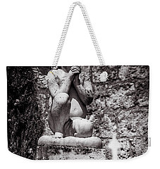 Praying Angel In Auvillar Cemetery Bw Weekender Tote Bag by RicardMN Photography