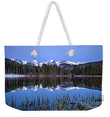 Pre Dawn Image Of The Continental Divide And A Sprague Lake Refl Weekender Tote Bag