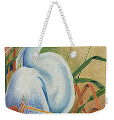 Weekender Tote Bag featuring the drawing Preening Egret by Peter Piatt