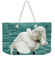 Weekender Tote Bag featuring the photograph Preening Trumpeter Swan  by Janette Boyd