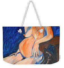 Weekender Tote Bag featuring the painting Pregnant Woman In Blue by Esther Newman-Cohen