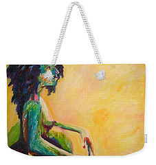 Pregnant Woman In Yellow Weekender Tote Bag