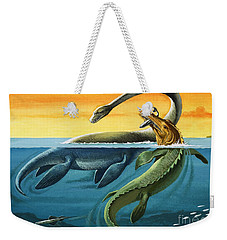Prehistoric Creatures In The Ocean Weekender Tote Bag by English School