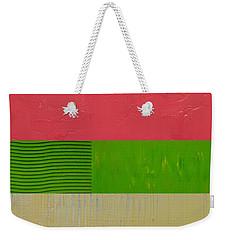 Preppy Pink And Green Weekender Tote Bag by Michelle Calkins