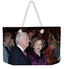 Weekender Tote Bag featuring the photograph President And Mrs. Jimmy Carter Nobel Celebration by Jerry Battle