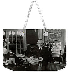 Weekender Tote Bag featuring the painting President Calvin Coolidge by Artistic Panda