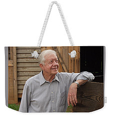 Weekender Tote Bag featuring the photograph President Carter At His Boyhood Farm by Jerry Battle
