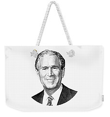 President George W. Bush Graphic - Black And White Weekender Tote Bag