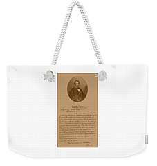 President Lincoln's Letter To Mrs. Bixby Weekender Tote Bag by War Is Hell Store