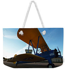Weekender Tote Bag featuring the photograph Preston's Boeing Stearman 000 by Chris Mercer