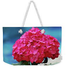 Pretty Blooming Pink Hydrangea Flowers Weekender Tote Bag by DejaVu Designs