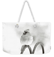 Pretty Cardinal In Black And White Weekender Tote Bag by Trina Ansel
