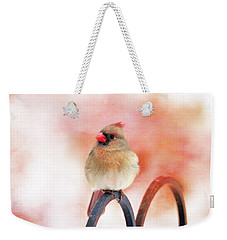 Pretty Cardinal Weekender Tote Bag by Trina Ansel