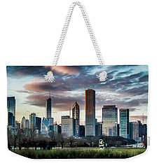 Pretty Clouds Over Chicago Skyline Weekender Tote Bag