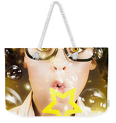 Weekender Tote Bag featuring the photograph Pretty Geek Girl At Birthday Party Celebration by Jorgo Photography - Wall Art Gallery