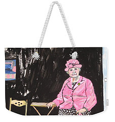 Weekender Tote Bag featuring the painting Pretty In Pink by Esther Newman-Cohen