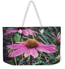 Weekender Tote Bag featuring the photograph Pretty Pink Flower Parasol by Karen Stahlros