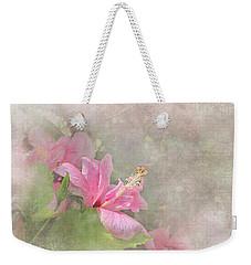 Pretty Pink Hibiscus Weekender Tote Bag