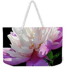 Pretty Pink Peony Flower On Black Weekender Tote Bag by Carol F Austin