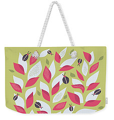 Pretty Plant With White Pink Leaves And Ladybugs Weekender Tote Bag