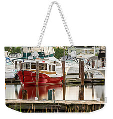 Pretty Red Boat Weekender Tote Bag