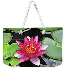 Pretty Red Water Lily Flowering In A Water Garden Weekender Tote Bag