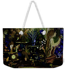Weekender Tote Bag featuring the digital art Pretty Swiss Girl In Here Flora And Gifts by Sherri Of Palm Springs