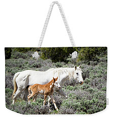 Pretty White Mustang Mare With Her New Foal - Sand  Wash Basin Weekender Tote Bag