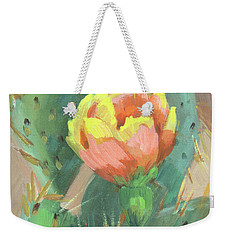 Weekender Tote Bag featuring the painting Prickly Pear Cactus Bloom by Diane McClary