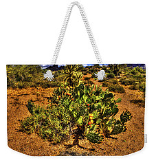 Prickly Pear In Bloom With Brittlebush And Cholla For Company Weekender Tote Bag