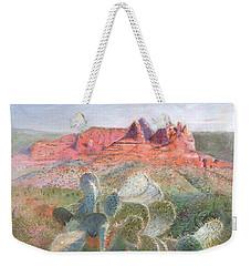 Weekender Tote Bag featuring the painting Prickly Pear In Sedona, Arizona by Nancy Lee Moran