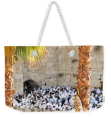Prayer Of Shaharit At The Kotel During Sukkot Festival Weekender Tote Bag by Yoel Koskas
