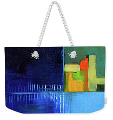 Weekender Tote Bag featuring the painting Primary Blue Abstract by Nancy Merkle