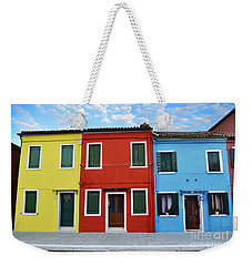 Weekender Tote Bag featuring the photograph Primary Colors Too Burano Italy by Rebecca Margraf