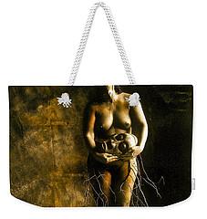 Primitive Woman Holding Mask Weekender Tote Bag
