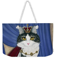 Weekender Tote Bag featuring the painting Prince Anakin The Two Legged Cat - Regal Royal Cat by Carrie Hawks