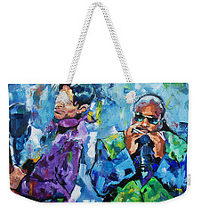 Weekender Tote Bag featuring the painting Prince And Stevie by Richard Day