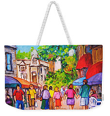 Weekender Tote Bag featuring the painting Prince Arthur Street Montreal by Carole Spandau