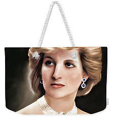 Weekender Tote Bag featuring the digital art Princess Diana by Pennie  McCracken